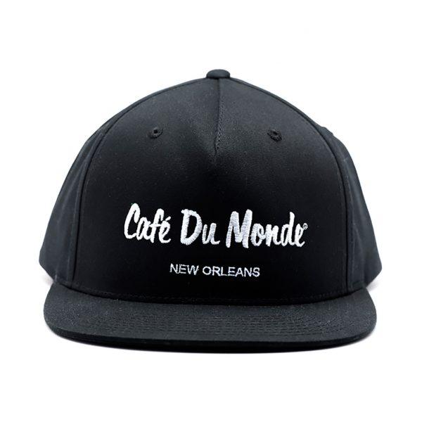 Cafe du Monde Black Flat Bill Cap