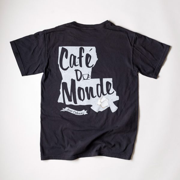 Cafe du Monde Comfort Colors Graphite Louisiana State Tee Shirt