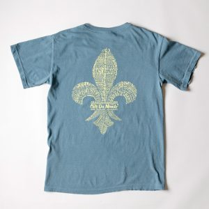 Cafe du Monde Comfort Colors Ice Blue Fleur de Lis Tee Shirt