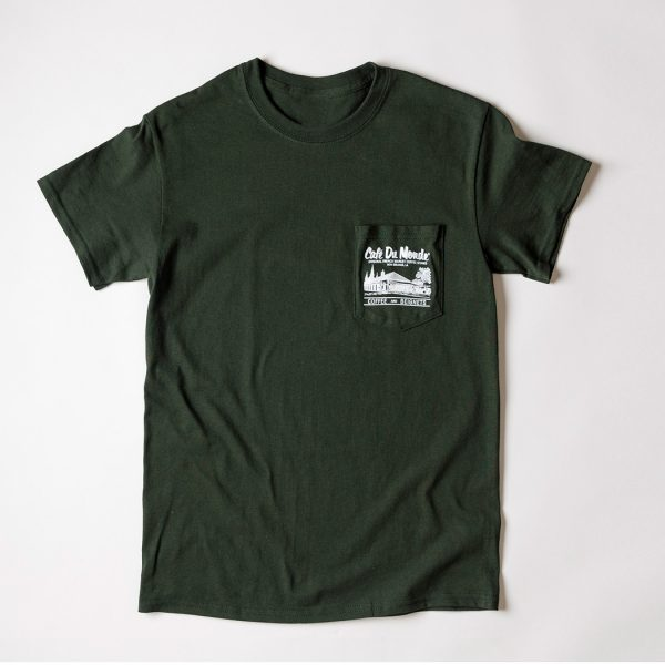 Cafe du Monde Gildan Pocket Forest Green Tee Shirt