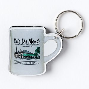 Cafe du Monde Gray Diner Coffee Mug Keychain