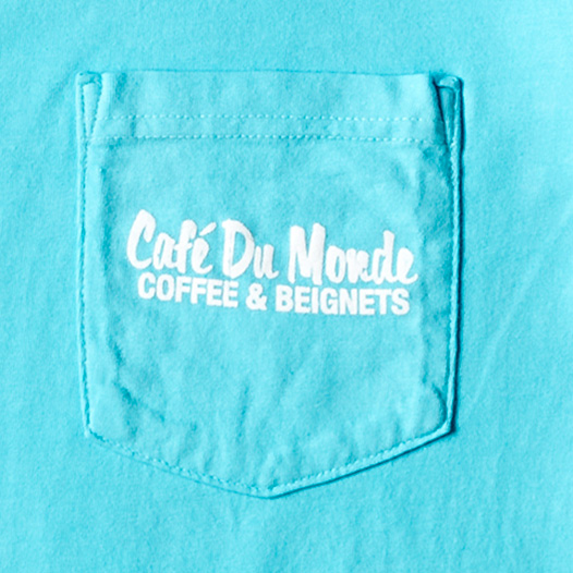 Cafe du Monde Lagoon Blue Pocket Long Sleeve Tee Shirt