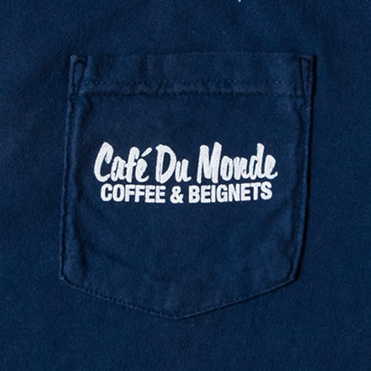 Cafe du Monde Navy Blue Pocket Long Sleeve Tee Shirt