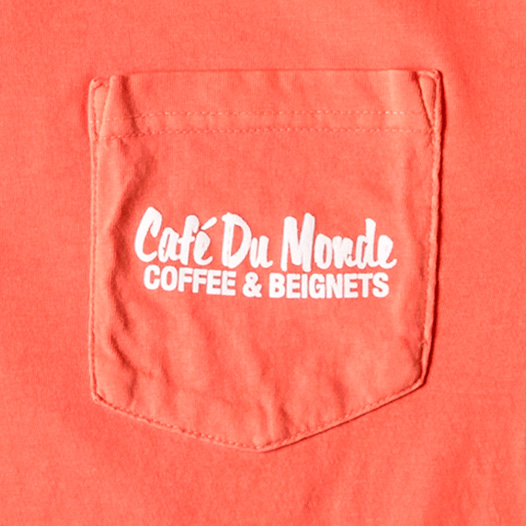 Cafe du Monde Salmon Pocket Long Sleeve Tee Shirt