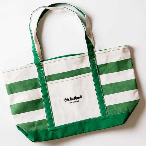 Cafe du Monde Green Stripe Tote Bag